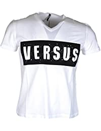 Versace Versus BU90299 V-Neck Ribbed Design Short White T-Shirt