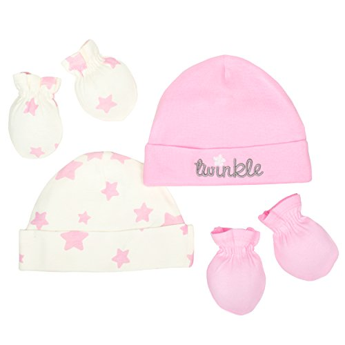 Gerber Baby Girls 4 Piece Organic Cap and Mitten Set,Cream/Light Pink,0-6M (Cap Set Hat)
