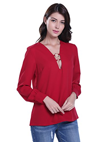 MISS MOLY Women's Casual Ring Deep V Neck Long Sleeve Blouse Top S