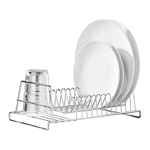 Premier Housewares 509583 12 Plate Dish Drainer - Chrome , Silver , H12 x W35 x D18cm
