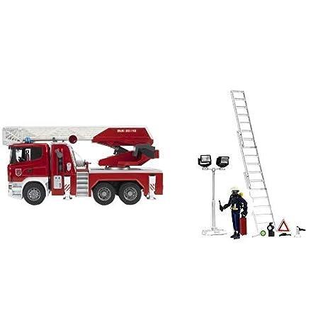 bruder 03590 Scania R-Serie Feuerwehrleiterwagen mit Wasserpumpe und Light /& Sound Modul /&  62700 Feuerwehrmann Figurenset