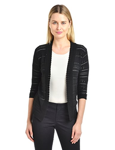 Knit Minded Women's Junior Pointelle ¾ Sleeve Novelty Cardigan, Black, ()