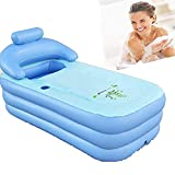 Memories Widen and Thicken Adult Portable Environmental PVC Folding Inflatable Air Bath Tub with Europe Plug Electronic Air Pump for Bathroom SPA,Children Swimming Pool (160×82×75cm) (Blue)