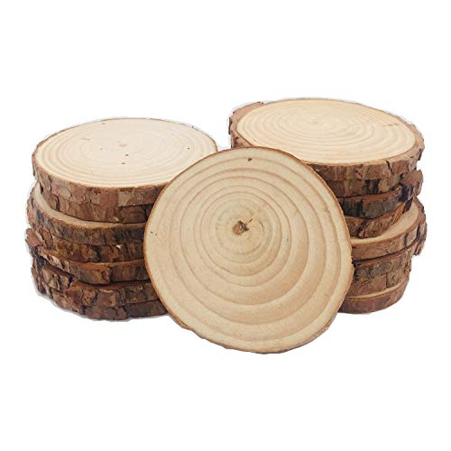 (Unfinished Wood Slices 24pcs 3.5-4 inch Natural with Bark for Coasters Burning Christmas Rustic Wedding Christmas Ornaments Crafts Kits)