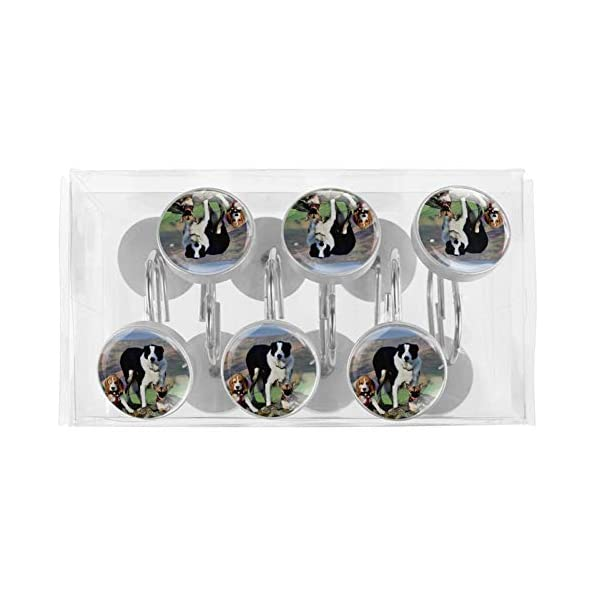 imobaby 12 Pcs Beagle Border Collie Shower Curtain Hooks,Round Crystal Glass Shower Curtain Hooks for Bathroom and Living Room Decorative 5
