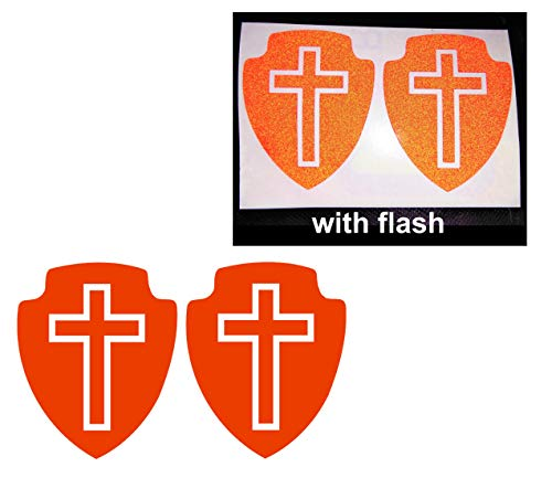 2x Red Cross Shield Jesus Sign Christian Reflective Decal Decals Reflector Vinyl Sticker Safety Small Believe Love Faith Lucky Praying Logo Bumper Motorcycle Bike Racing Car Laptop Door Window Helmet Tailgate Truck Trunk Mac Phone Mobile