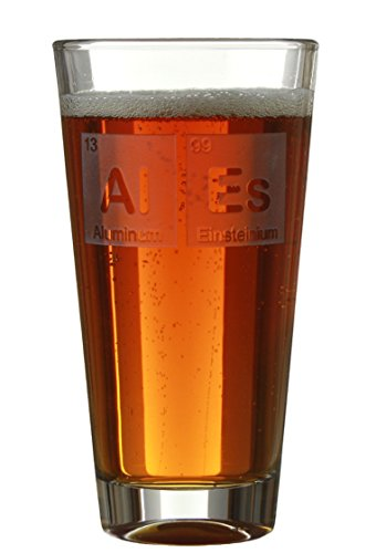 Beeriodic Table - Engraved 16oz Beer/Cider Pint Glasses With Periodic Table Block Designs - By Celery Street For Birthday's/Anniversaries (Al Es)