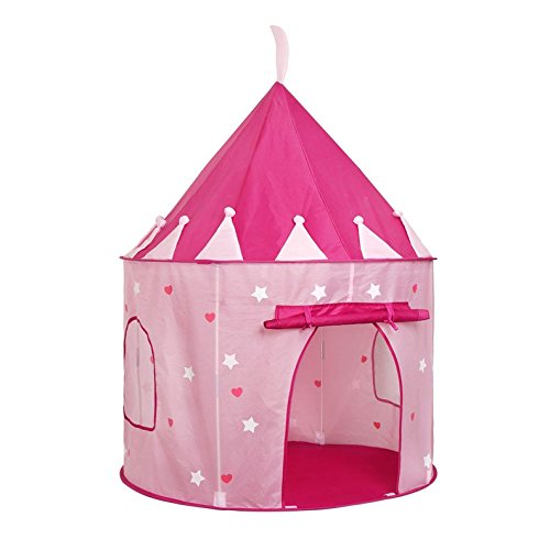 Price comparison product image Princess Castle Play Tent – Pink – Adorned with Glow in the Dark Stars – Includes Carrying Case for Easy Transportation and Storage