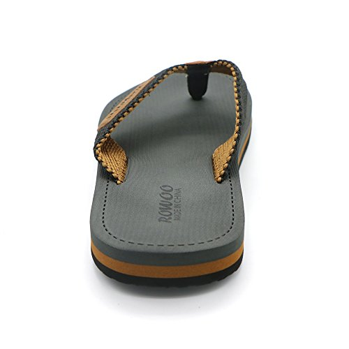 Men's Beach Flat Flops Thong Sandals Textile Summer HUMMOO Flip Gray Outdoor Slipper 7q4w6ZZx
