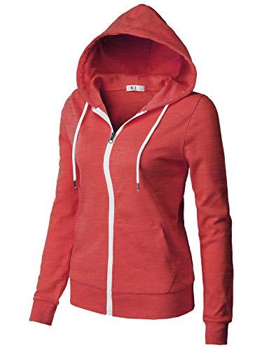 H2H Women's Casual Zip-up Hoodie Basic Long Sleeve Hoodie HEATHERRED US L/Asia L (CWOHOL030)