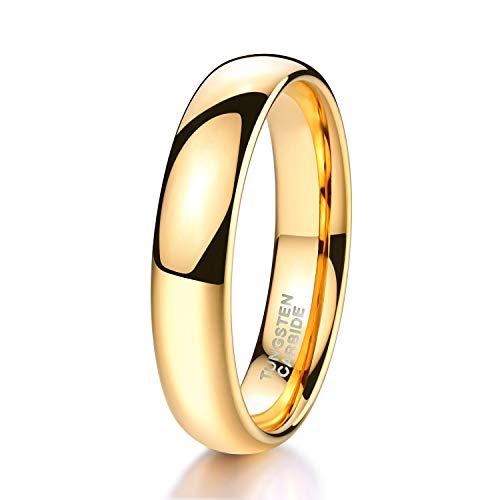 Shuremaster 4mm 6mm Tungsten Wedding Band Ring for Men Women Gold Domed High Polish Comfort Fit