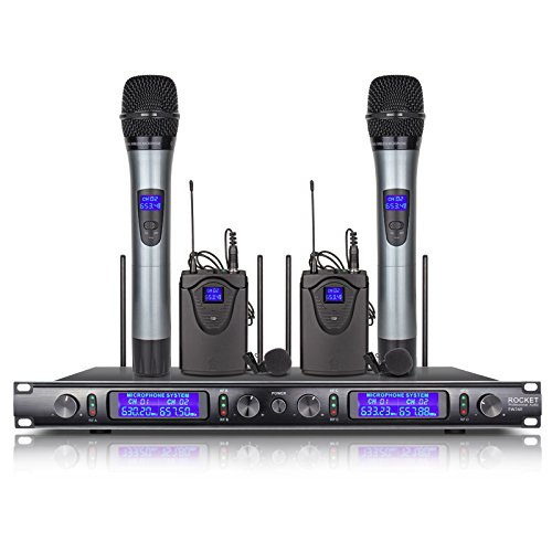 4 Channel Professional Karaoke - Whole Metal!! XTUGA EW240 4 Channel Wireless Microphone System UHF Wireless Karaoke Microphone System 2Mic and 2bodapack