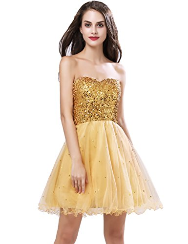 Sarahbridal Juniors Homecoming Dresses Short 2019 Sequin Tulle Sweet 16 Prom Party Gowns Gold US2