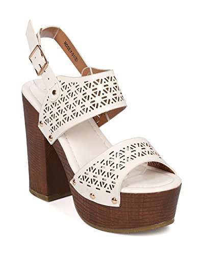 Alrisco Women Peep Toe Block Heel Sandal - Slingback Platform Chunky Heel - Perforated Dressy Casual Versatile Sandal - HA44 by White Leatherette OIdIuqGA