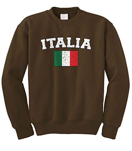 - Cybertela Faded Distressed Italia Flag Crewneck Sweatshirt (Brown, Small)
