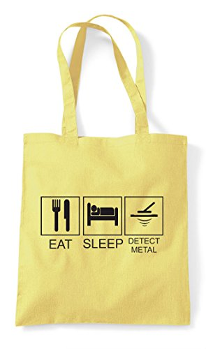 Hobby Bag Tiles Detector Activity Funny Sleep Eat Shopper Metal Lemon Tote FHOOq1
