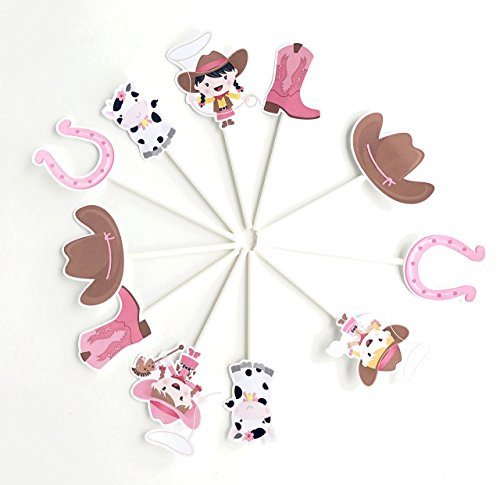 Cowgirl Cupcake Toppers 12 pcs - Cowgirl Party Supplies - Cowgirl Baby Shower Cupcake by Kids Party Dreams