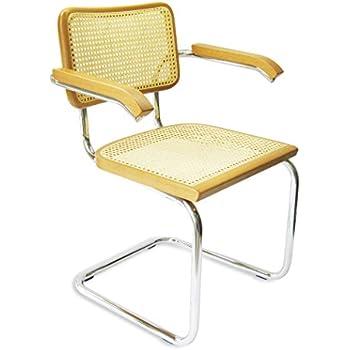 Marcel Breuer Cesca Cane Chrome Arm Chair In Honey Oak