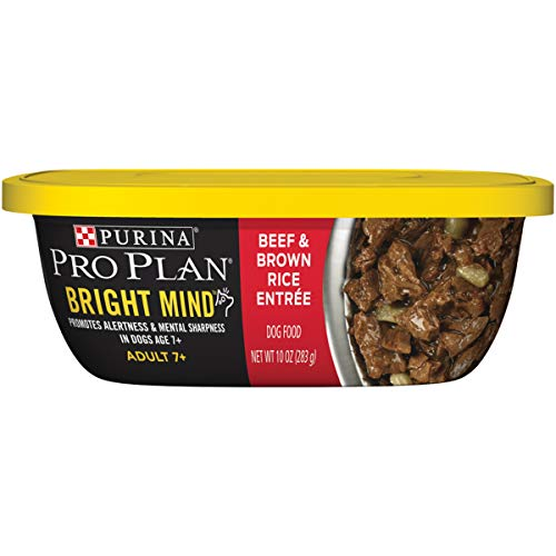 (Purina Pro Plan Senior Wet Dog Food; BRIGHT MIND Beef & Brown Rice Entree - (8) 10 oz. Tubs)