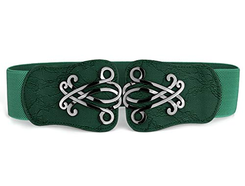 uxcell Lady Faux Leather Floral Interlock Buckle Elastic Waist Belt Green