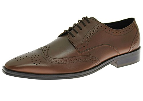 Handmade Mens Leather Shoe Gabbana Rosato Wingtip Oxford (42 M EU / 9 D(M) US,Cognac Brown)