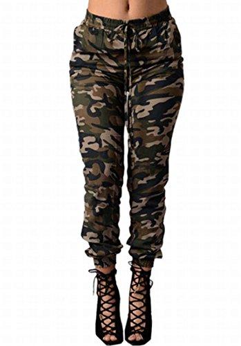 YZXH Womens Casual Jogger Denim Elastic Waist Ankle Jeans Camo S