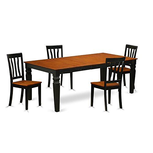 East West Furniture LGAN5-BCH-W 5Piece Dinette Table Set wit