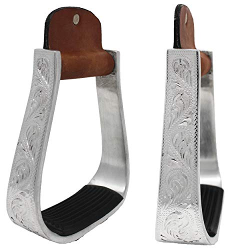 Challenger Tack Horse Saddle Aluminium Western Riding SS Stirrups Leather Tread 51150