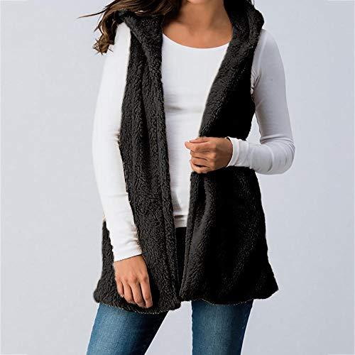Manteau Faux Manches Fourrure De Plus GreatestPAK Outwear sans Lady Gilet Femmes Poche Hiver Taille Gilet Solide rxq4rwFU0