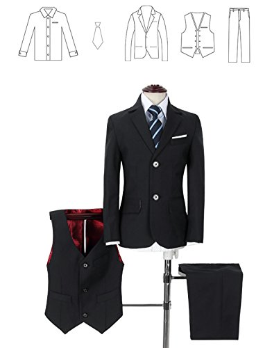 Yuanlu Boys Suits With Blazer Pants Vest Shirt and Tie Kids Suit For Wedding Size 12 Black by Yuanlu (Image #2)