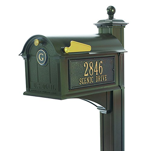 Whitehall Custom Balmoral Extra Large Mailbox with Monogram and Deluxe Side Mount Post Package - Sand Cast Aluminum - French Bronze Personalized in Goldtone