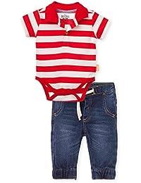 Baby Boy Polo Shirt Bodysuite + Jeans Casual Outfit Conjunto de Bebe