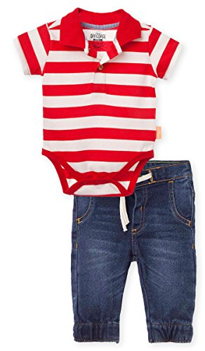 OFFCORSS Baby Boy Bodysuite Pique Striped Polo Shirt Comi...
