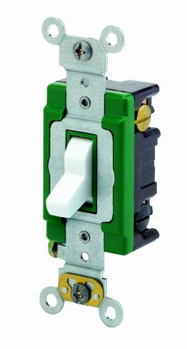 mp, 120/277 Volt, Toggle 3-Way AC Quiet Switch, Extra Heavy Duty Spec Grade, Self Grounding, Back and Side Wired, White ()