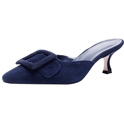 Ayercony Slide Sandal, Woman's Buckle Mule Slipper Kitten Heel Mules Pointed Toe Slides Knot Shoes for Dress Party Navy Blue Size 7 ()
