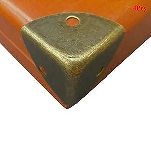 Lzttyee 4 Pack Iron Bronze Vintage Brass Edge Guard Box Corner Cover Protectors Furniture Decor (Bronze 2)