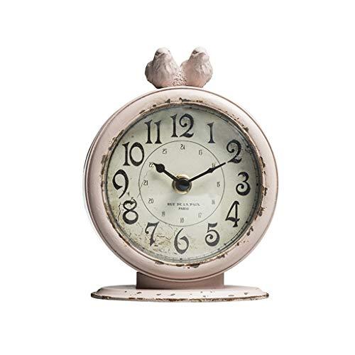 Relojes de mesa Reloj de sobremesa Americano Retro Cuarzo Metal Antiguo Pájaro Dormitorio Mesita de Noche
