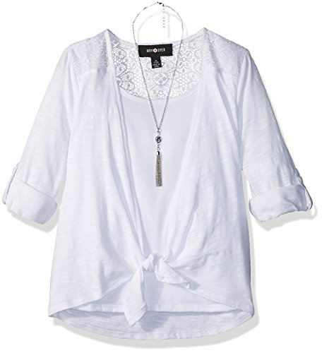 Back Tie Front Shirt (Amy Byer Big Girls' Everyday Favorite Tie-Front Top With Lace Back, White, L)