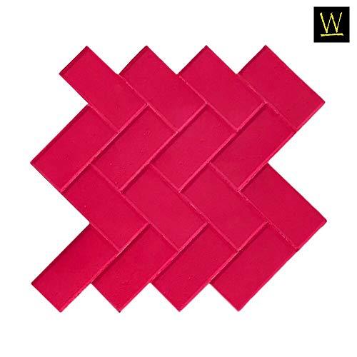 Walttools Herringbone Paver Concrete Stamp Single Classic Weaving Brick Pattern, Sturdy Polyurethane Texturing Mat, Decorative Realistic Detail (Rigid) ()