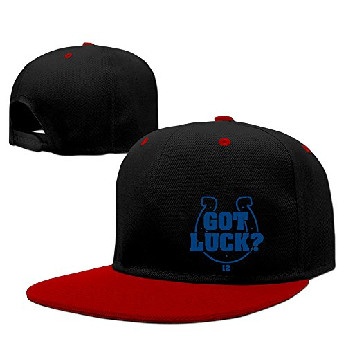 Hotboy19 Indianapolis #12 Football Got Luck Player Hip Hop Sun Protection Hat Snapback Flat Bill Cap (Colt Mascot Costume)