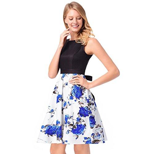 MCYs Damen Vintage Rose Blumen Rockabilly Kleid Knielang Faltenrock ...