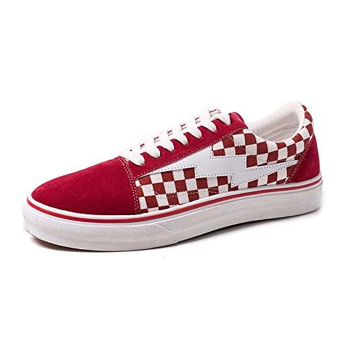 Shufang-shoes, 2018 Nouveau Les Chaussures de Sport Plat des Hommes Occasionnels Lacent des Mocassins Fermés en Caoutchouc Semelles en Toile de Toile (Color : Bleu, Taille : 39 EU) Rouge