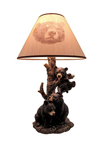 (Black Bear Family Table Lamp W/Tree Bark Print Shade)