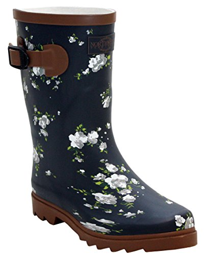 Ladies New Womens Short Mid Calf Girls Snow Mud Festival Waterproof Wellington Rain Boots Wellies Navy/Brown Flowers
