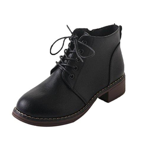 Kaicran Lady Bottines Pour Femmes Martin Boots Bottines Lacées Pour Filles Flat Talons Black