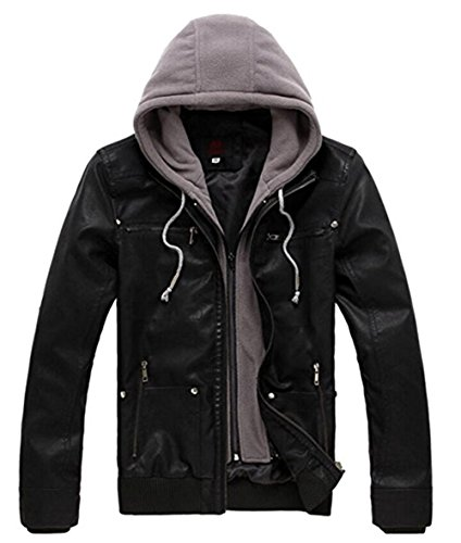 Men's Export Of High-End Motorcycle Detachable Hooded PU Leather Jacket (Small, Black) (High End Costumes For Men)