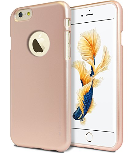 iPhone 6S / 6 Case, [Ultra Slim Fit] Goospery i-Jelly Case [Metallic Finish] Premium TPU Case Cover [Anti-Yellowing/Discoloring Finish] for Apple iPhone 6S / 6 - Metallic Rose Gold (Sheen Metallic Finish)