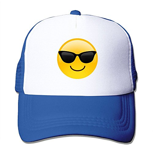 ZhiqianDF Momen Smiling Face With Sunglasses Cool Emoji Casual Style Baseball RoyalBlue Mesh Hat Adjustable - Snap Sunglass Emoji