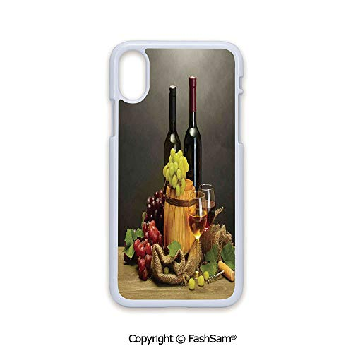 Phone Case Compatible with iPhone X Black Edge Barrel Bottles and Glasses of Wine and Ripe Grapes on Wooden Table Decorative Picture 2D Print Hard Plastic Phone Case