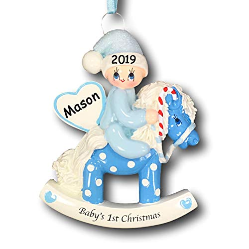 Personalized Baby Boys First Christmas Baby on Polka Dot Rocking Horse with Glittered Santa Hat Christmas Tree Ornament with Name and Date